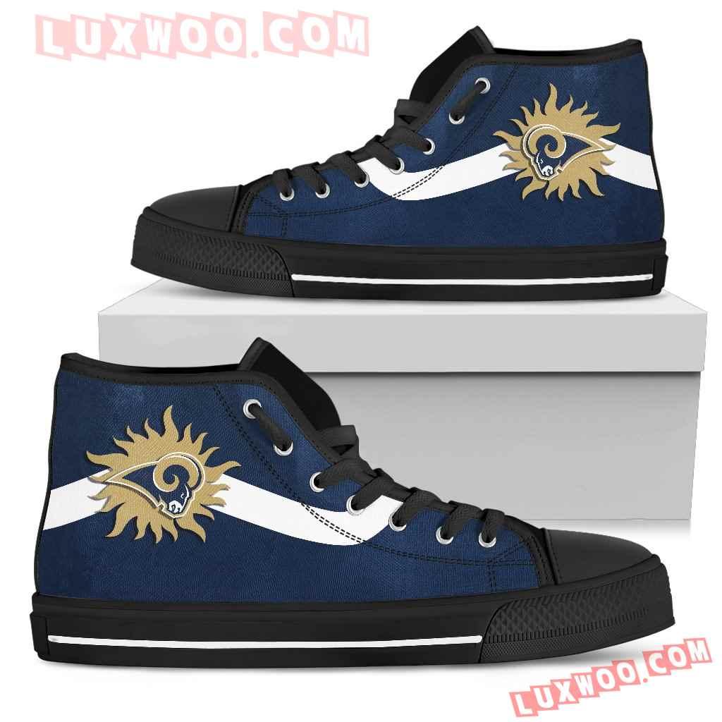 Simple Van Sun Flame Los Angeles Rams High Top Shoes