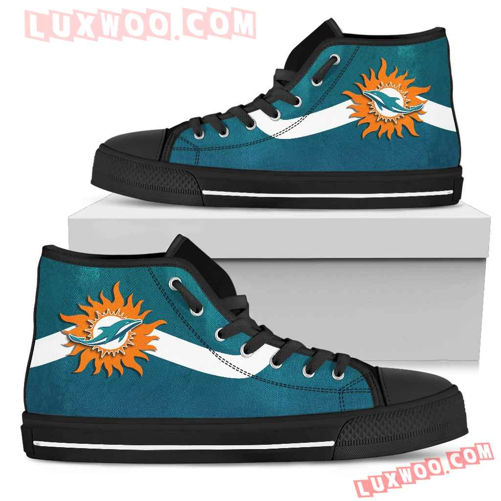 Simple Van Sun Flame Miami Dolphins High Top Shoes