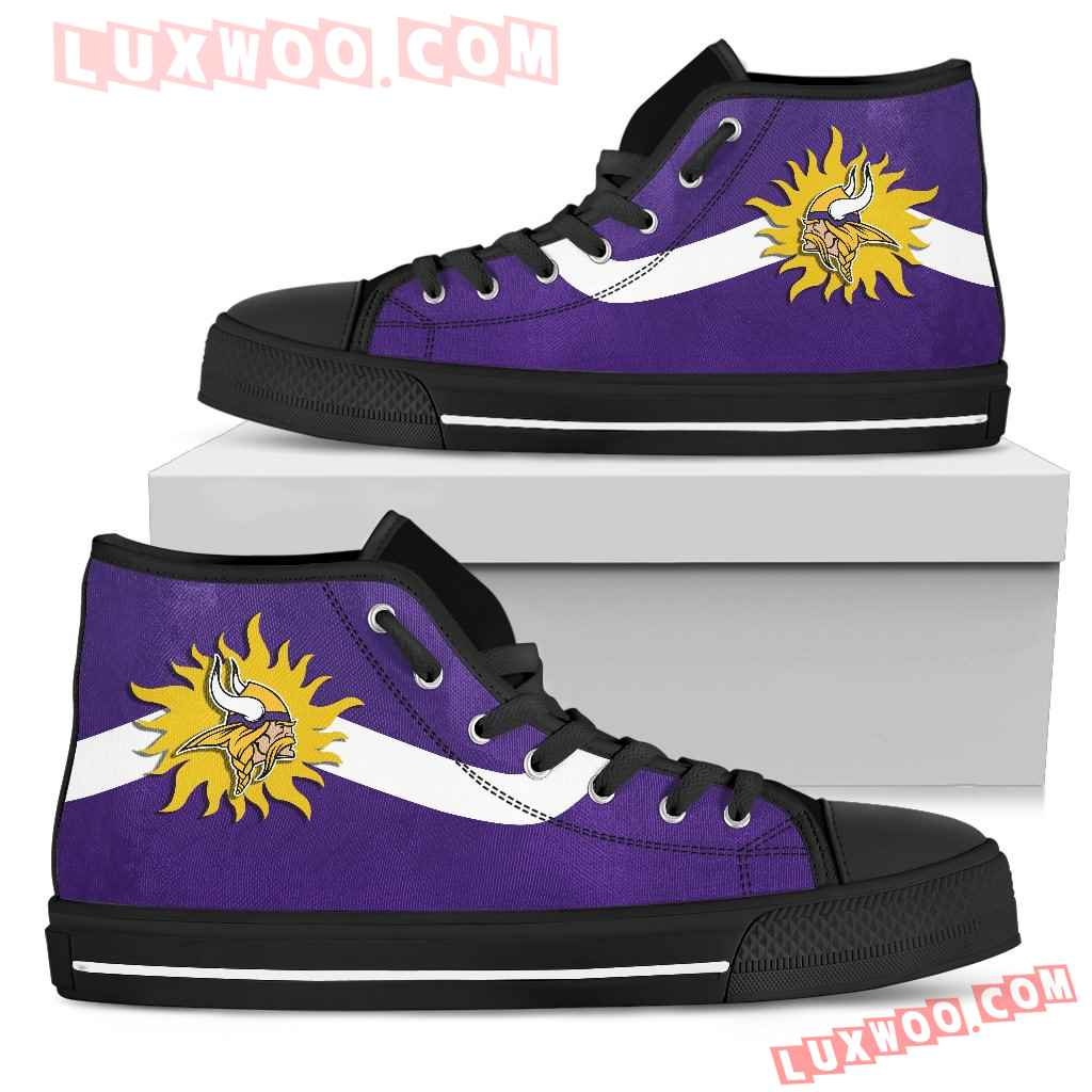 Simple Van Sun Flame Minnesota Vikings High Top Shoes