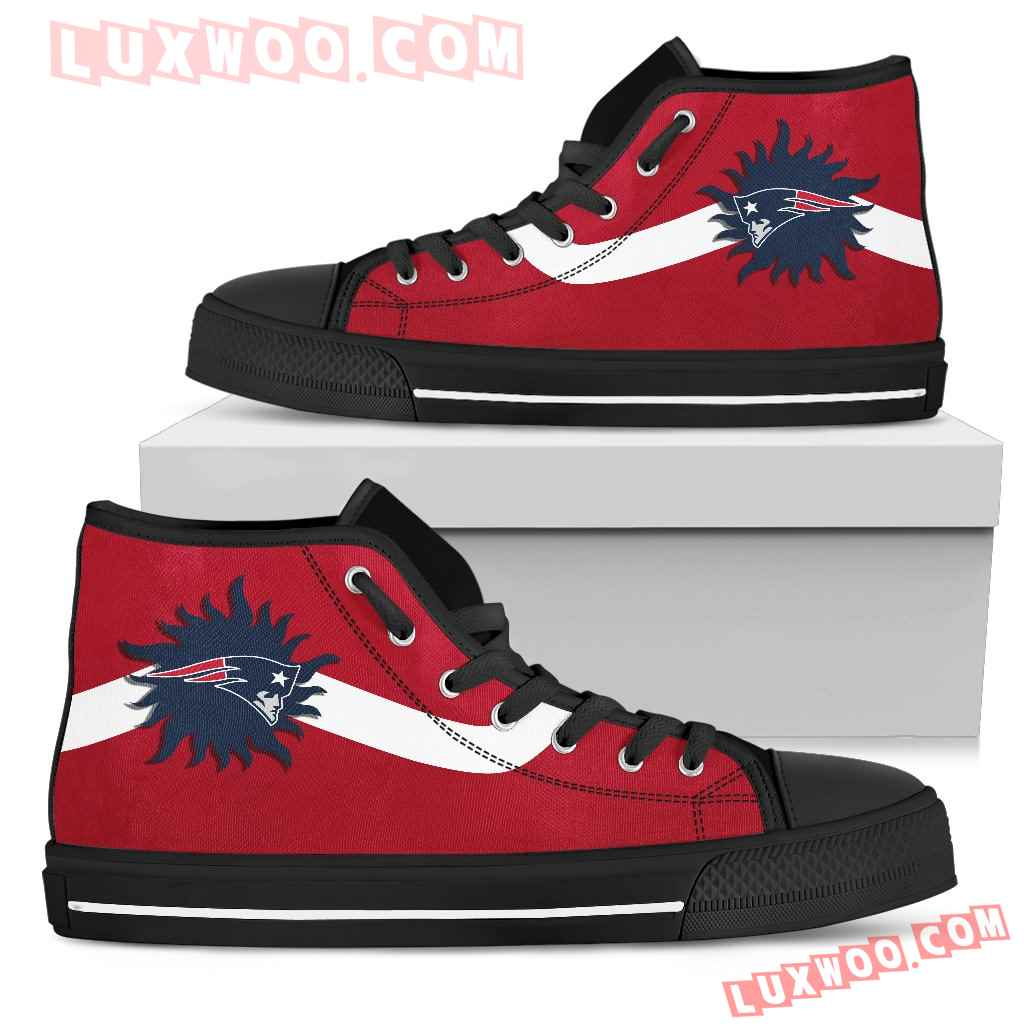 Simple Van Sun Flame New England Patriots High Top Shoes