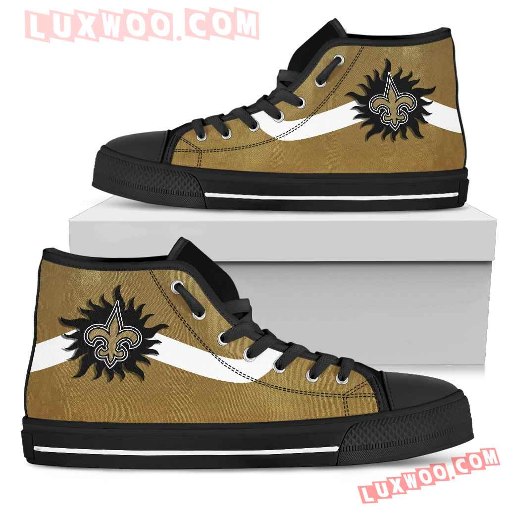 Simple Van Sun Flame New Orleans Saints High Top Shoes
