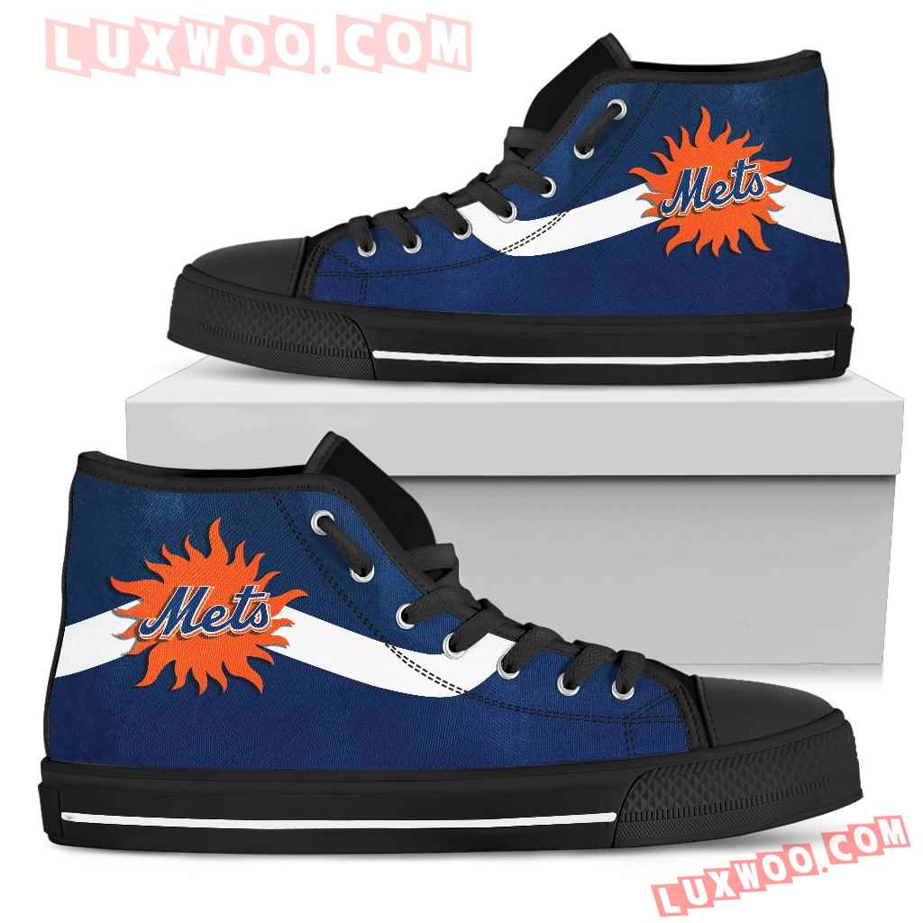 Simple Van Sun Flame New York Mets High Top Shoes