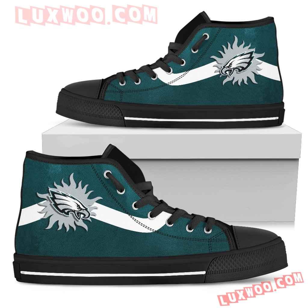 Simple Van Sun Flame Philadelphia Eagles High Top Shoes