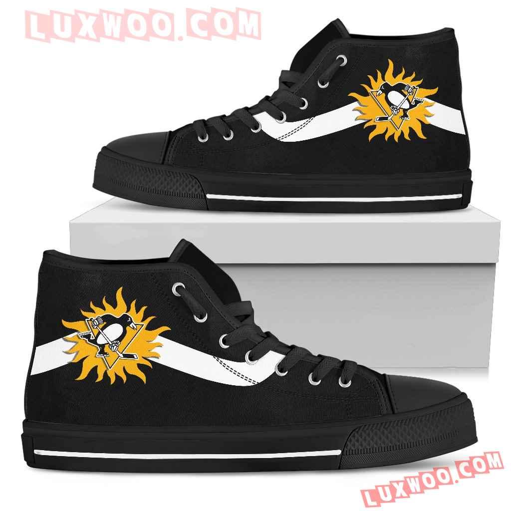 Simple Van Sun Flame Pittsburgh Penguins High Top Shoes