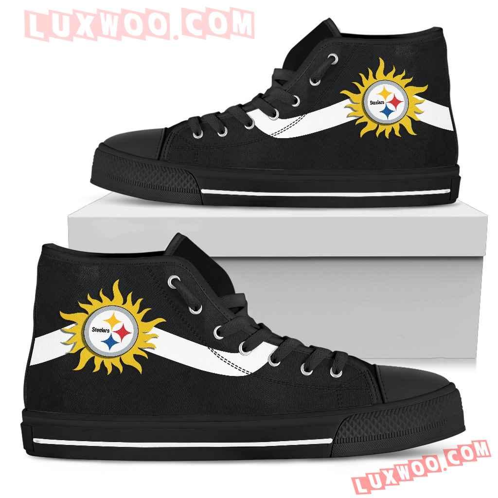 Simple Van Sun Flame Pittsburgh Steelers High Top Shoes