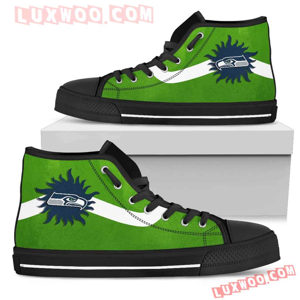 Simple Van Sun Flame Seattle Seahawks High Top Shoes