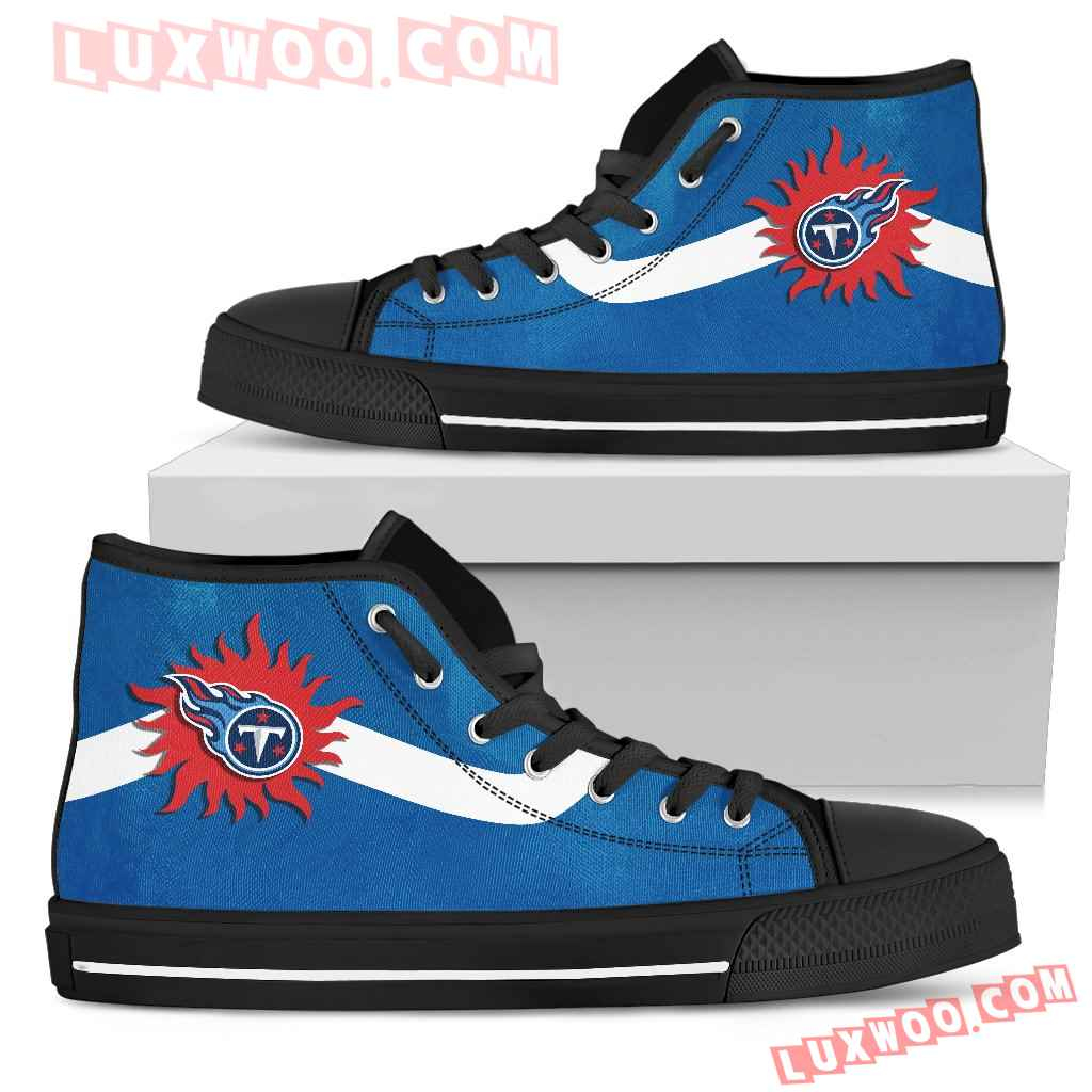 Simple Van Sun Flame Tennessee Titans High Top Shoes