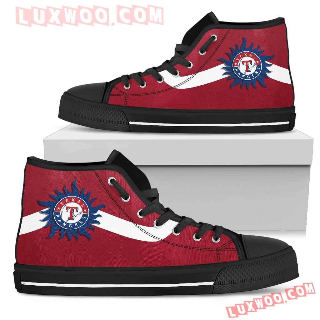 Simple Van Sun Flame Texas Rangers High Top Shoes