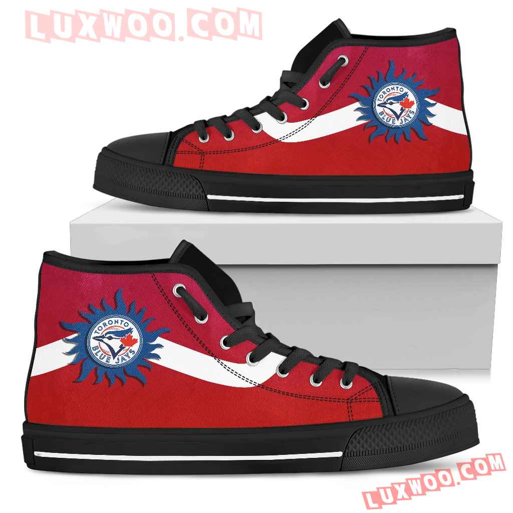 Simple Van Sun Flame Toronto Blue Jays High Top Shoes