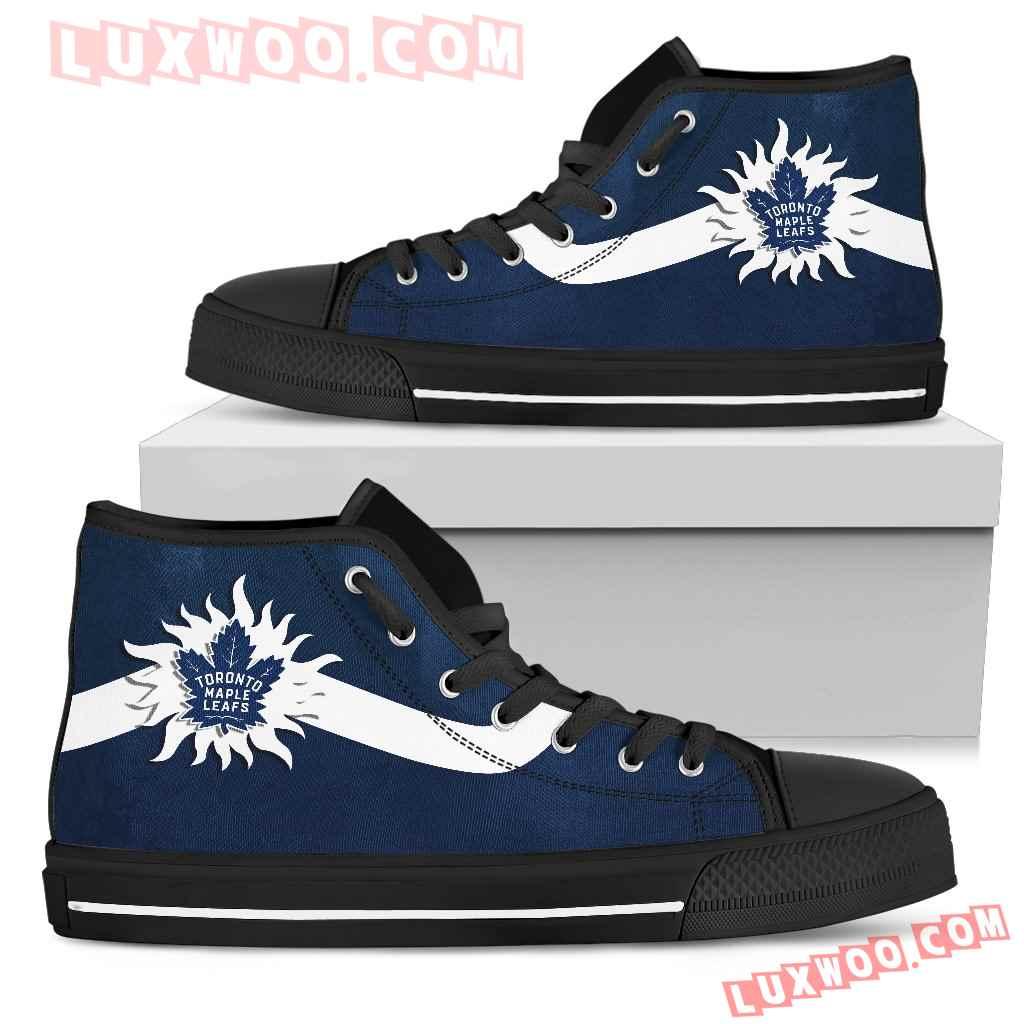 Simple Van Sun Flame Toronto Maple Leafs High Top Shoes