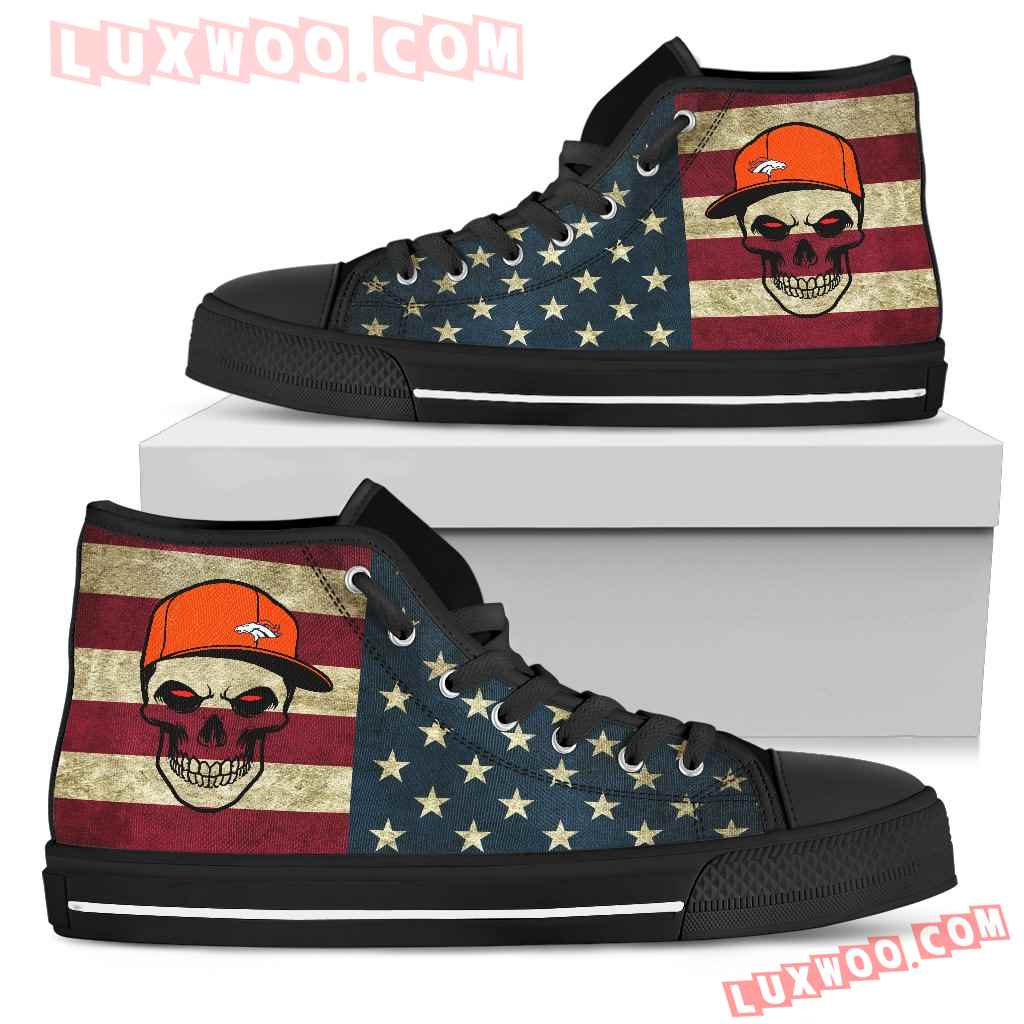 Skull Flag Vintage Style Denver Broncos High Top Shoes