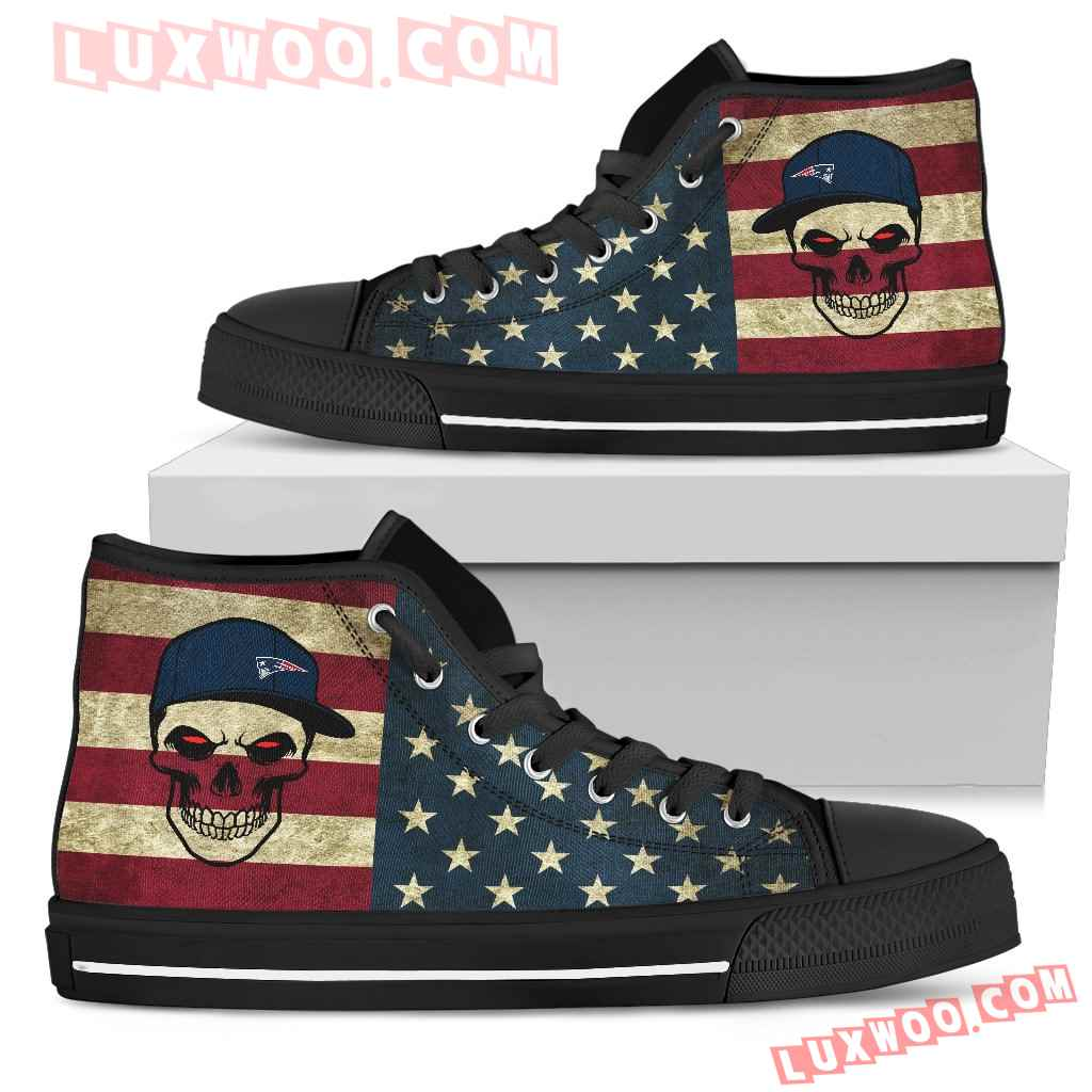 Skull Flag Vintage Style New England Patriots High Top Shoes