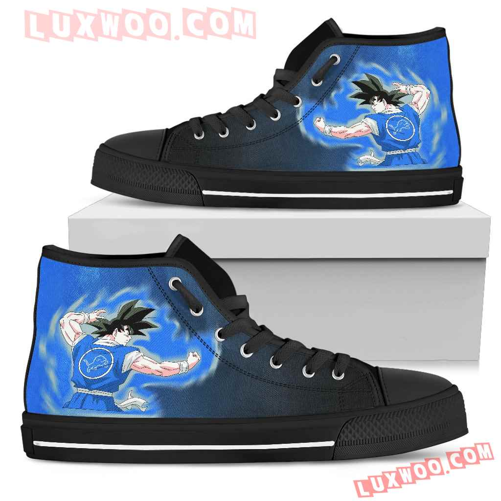 Son Goku Saiyan Power Detroit Lions High Top Shoes