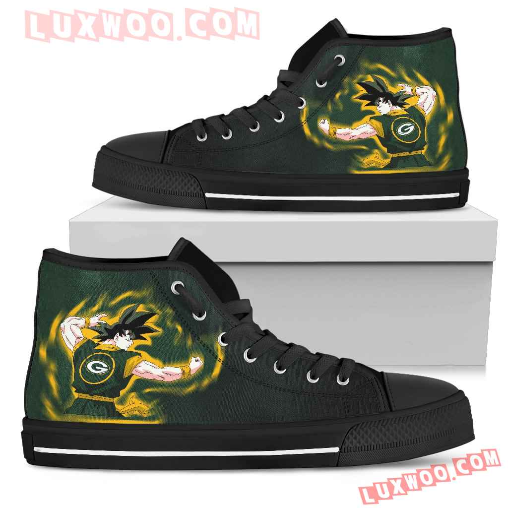 Son Goku Saiyan Power Green Bay Packers High Top Shoes