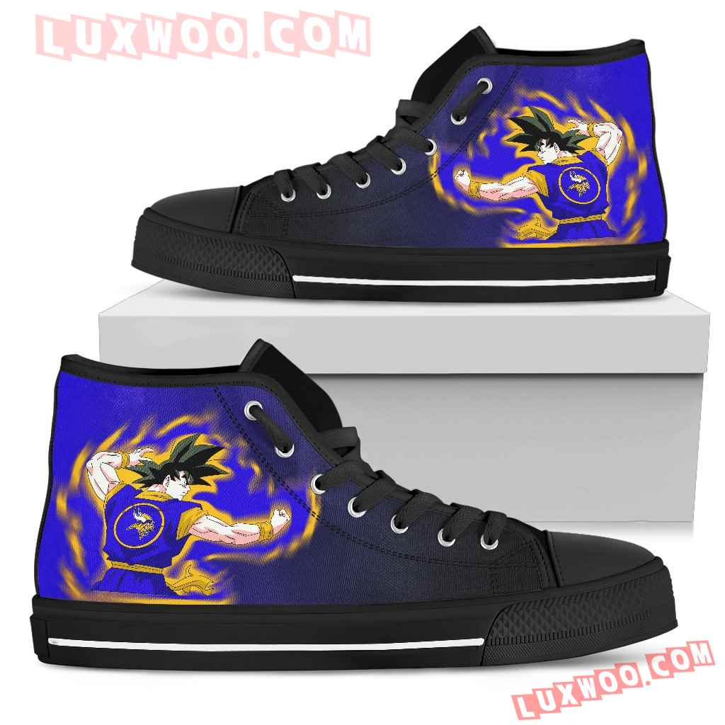 Son Goku Saiyan Power Minnesota Vikings High Top Shoes