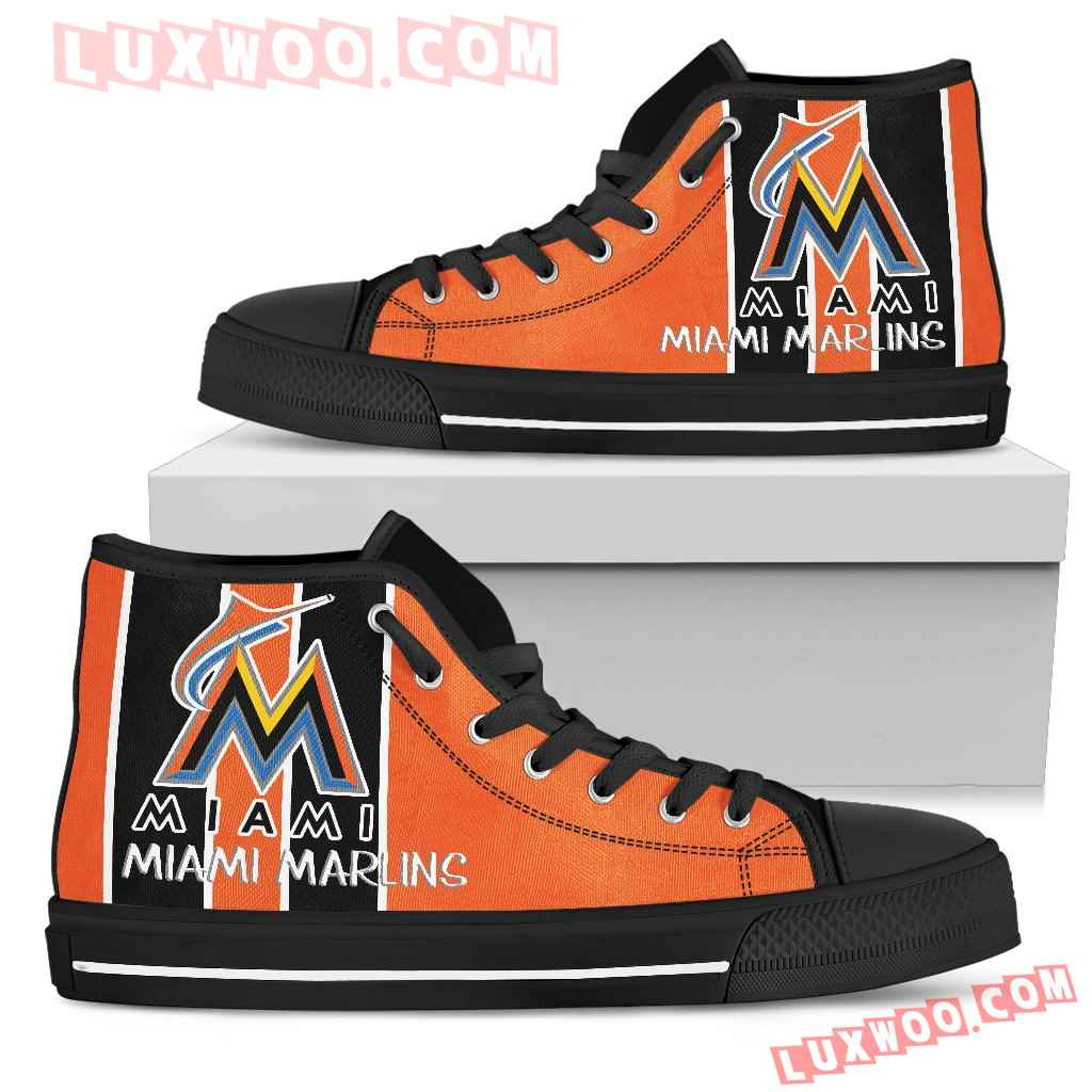 Steaky Trending Fashion Sporty Miami Marlins High Top Shoes