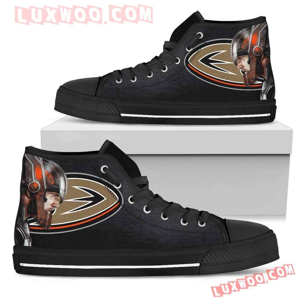 Thor Head Beside Anaheim Ducks High Top Shoes