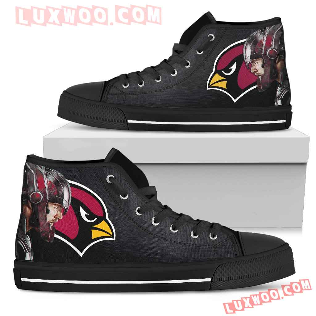 Thor Head Beside Arizona Cardinals High Top Shoes