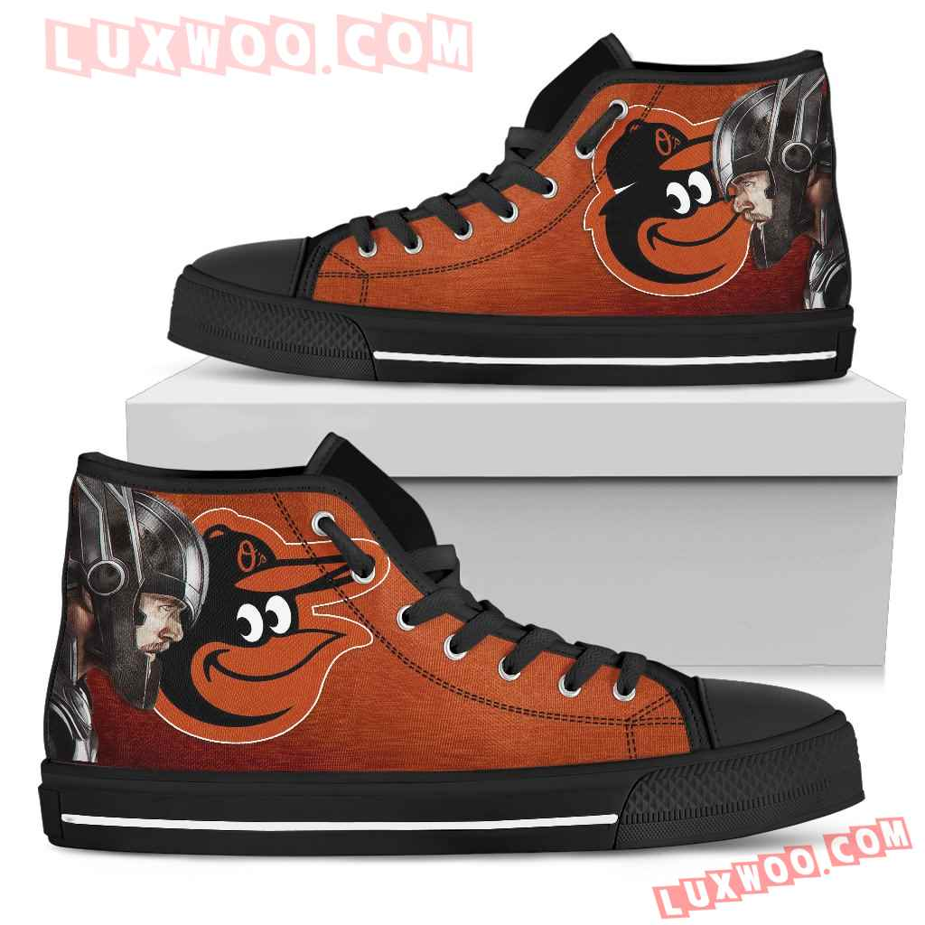 Thor Head Beside Baltimore Orioles High Top Shoes