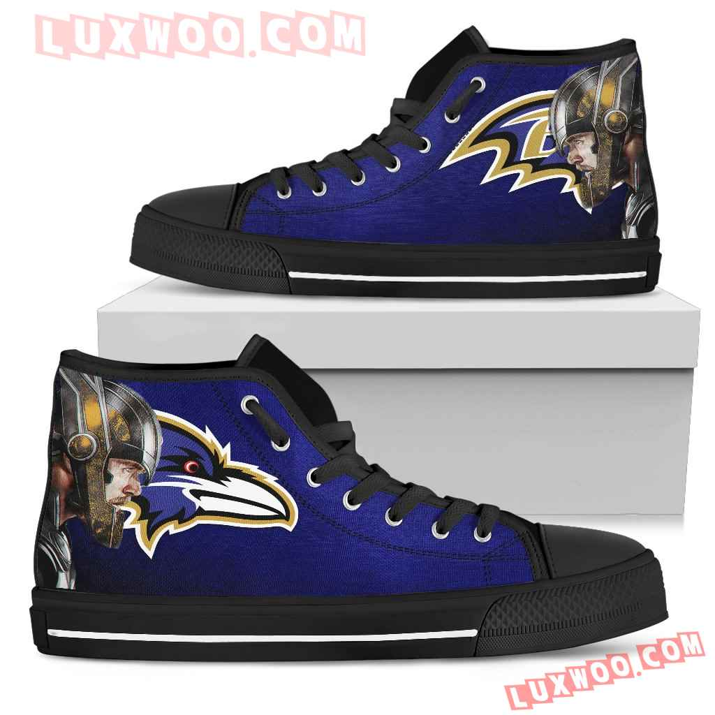 Thor Head Beside Baltimore Ravens High Top Shoes