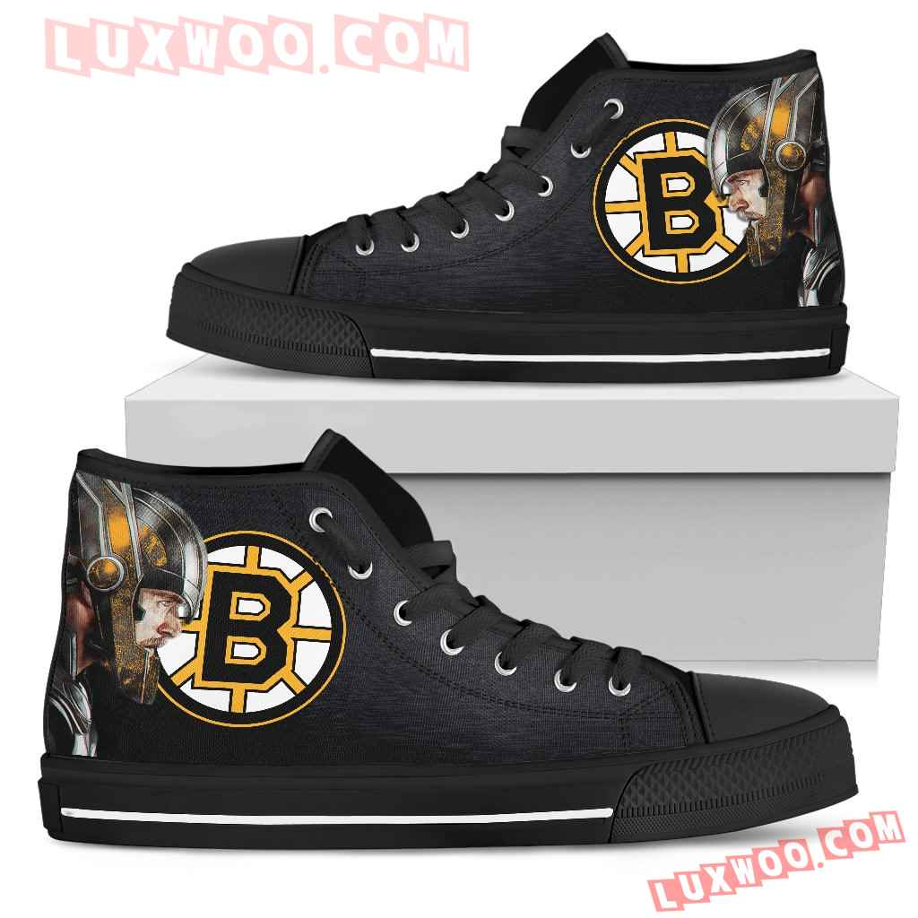 Thor Head Beside Boston Bruins High Top Shoes