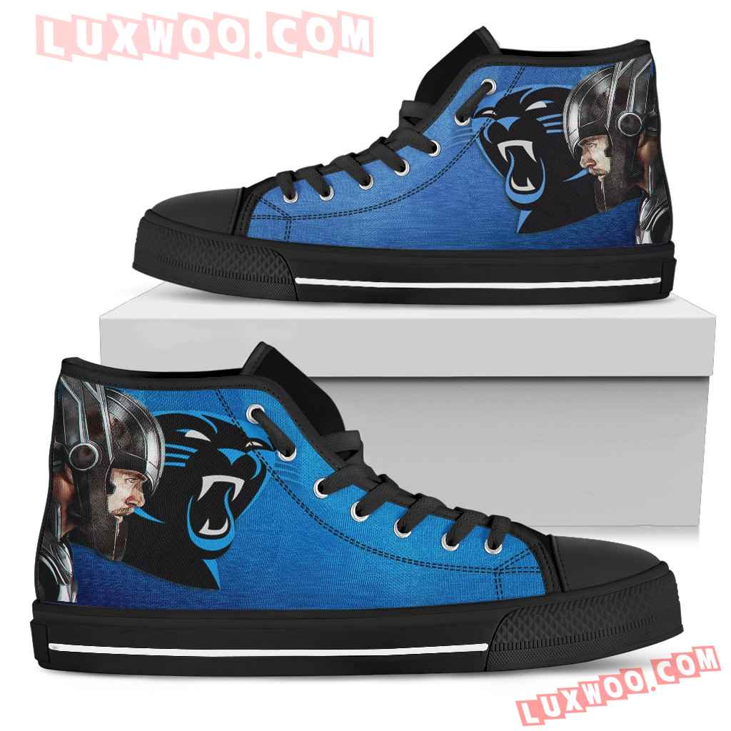 Thor Head Beside Carolina Panthers High Top Shoes