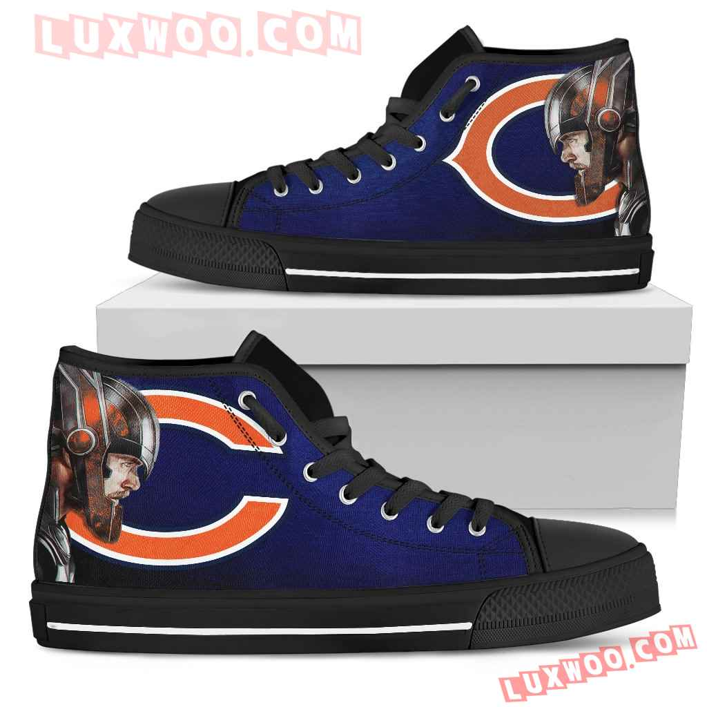 Thor Head Beside Chicago Bears High Top Shoes