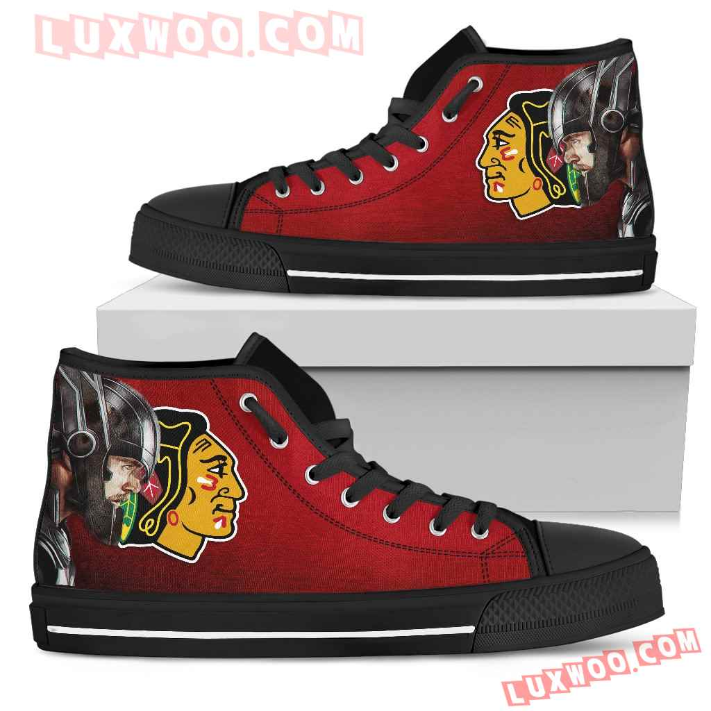 Thor Head Beside Chicago Blackhawks High Top Shoes