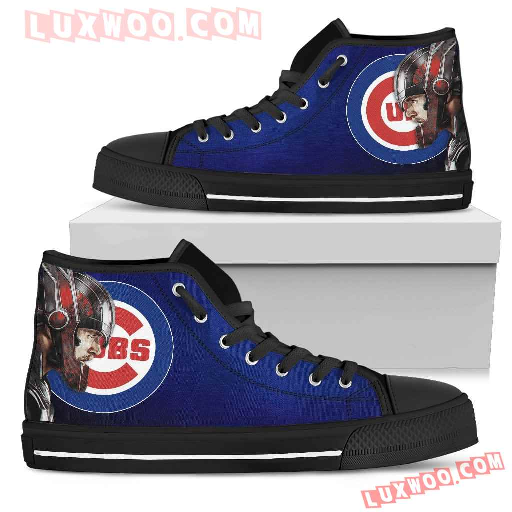 Thor Head Beside Chicago Cubs High Top Shoes