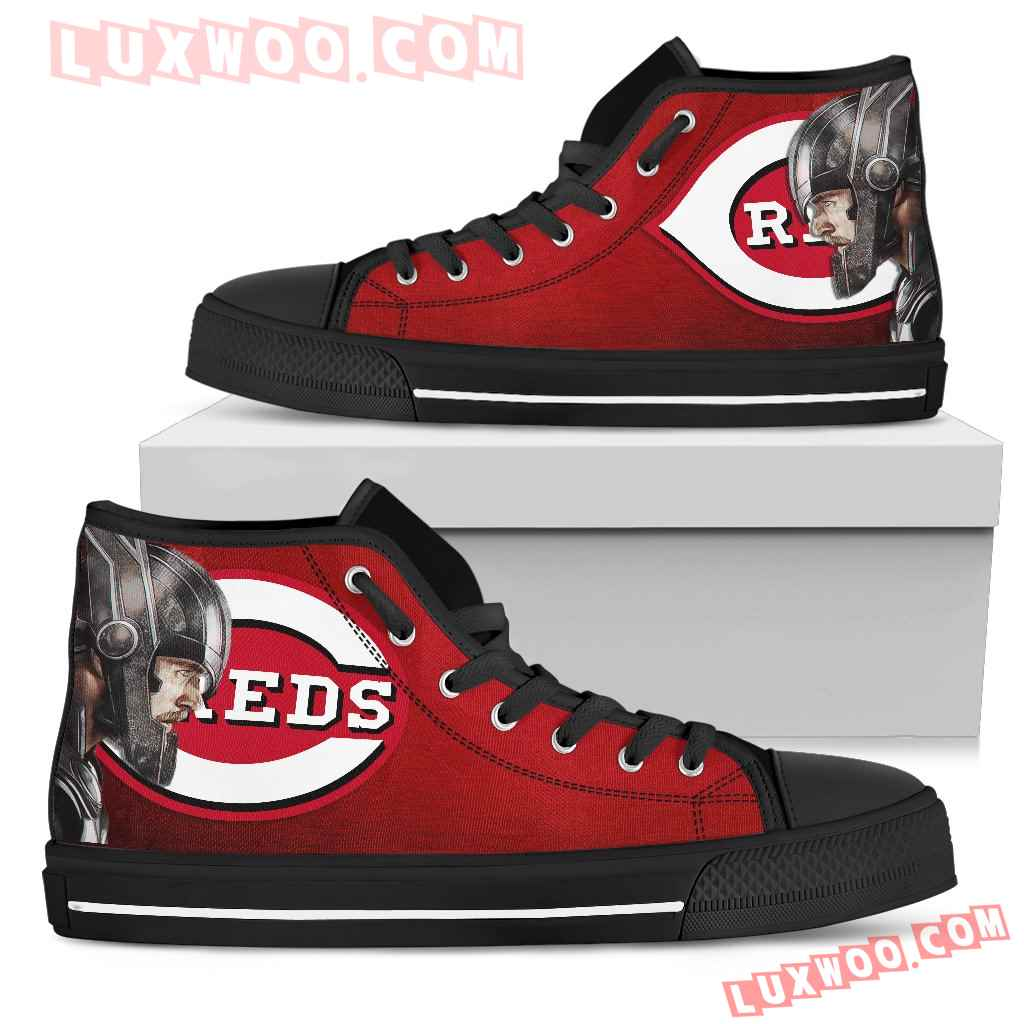 Thor Head Beside Cincinnati Reds High Top Shoes