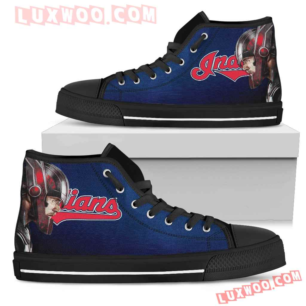 Thor Head Beside Cleveland Indians High Top Shoes