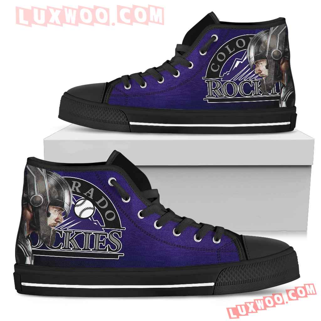 Thor Head Beside Colorado Rockies High Top Shoes