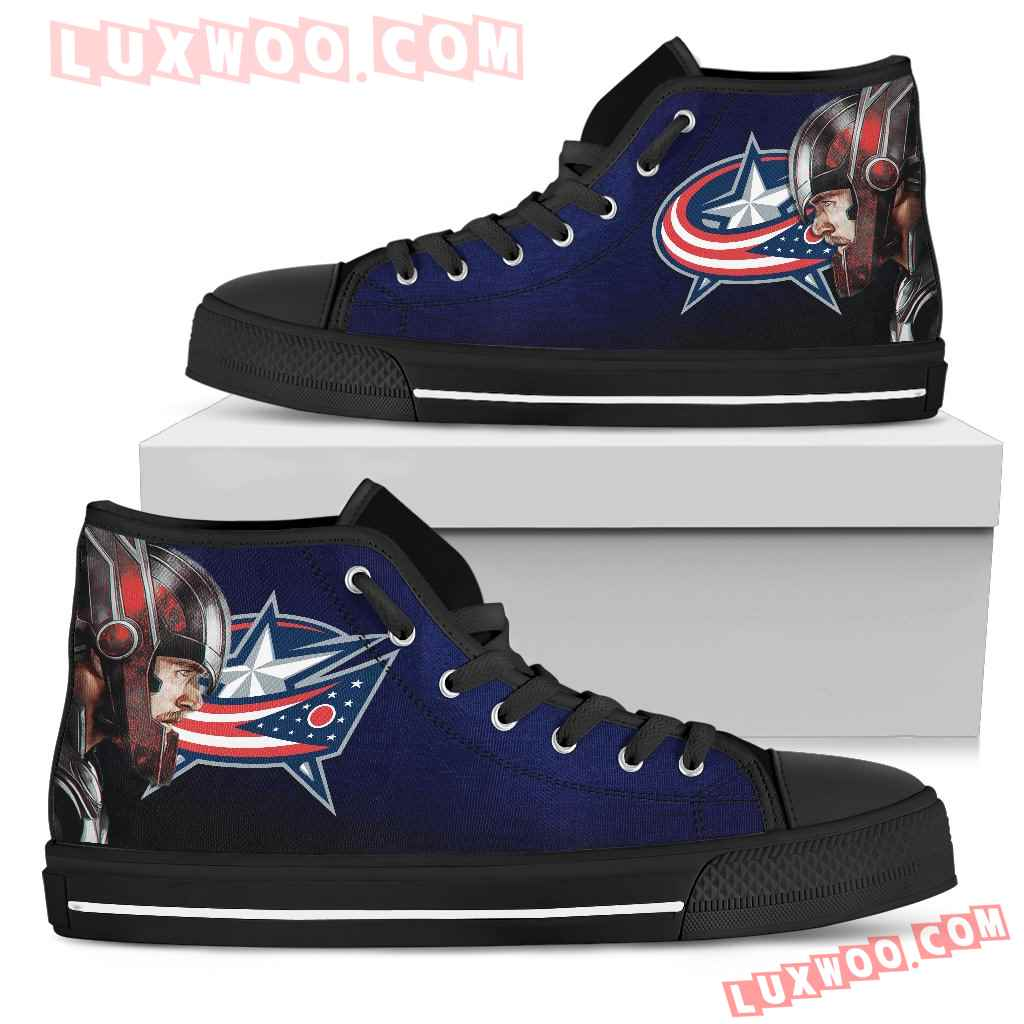 Thor Head Beside Columbus Blue Jackets High Top Shoes