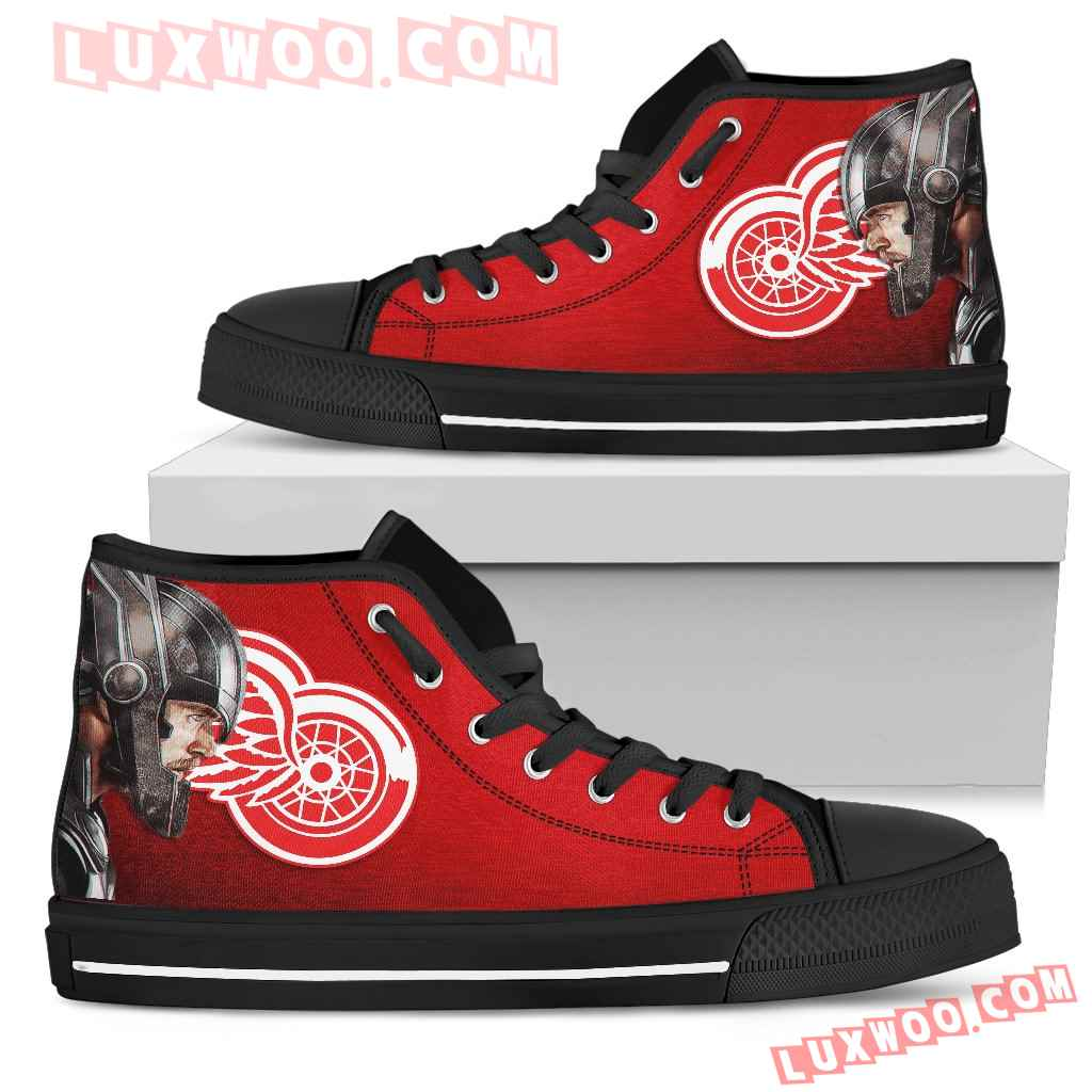 Thor Head Beside Detroit Red Wings High Top Shoes