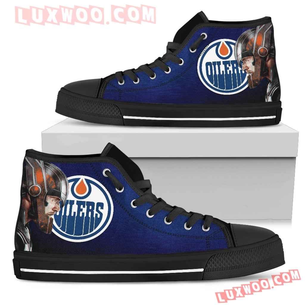 Thor Head Beside Edmonton Oilers High Top Shoes
