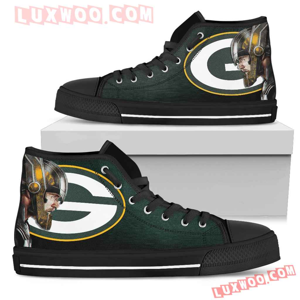Thor Head Beside Green Bay Packers High Top Shoes