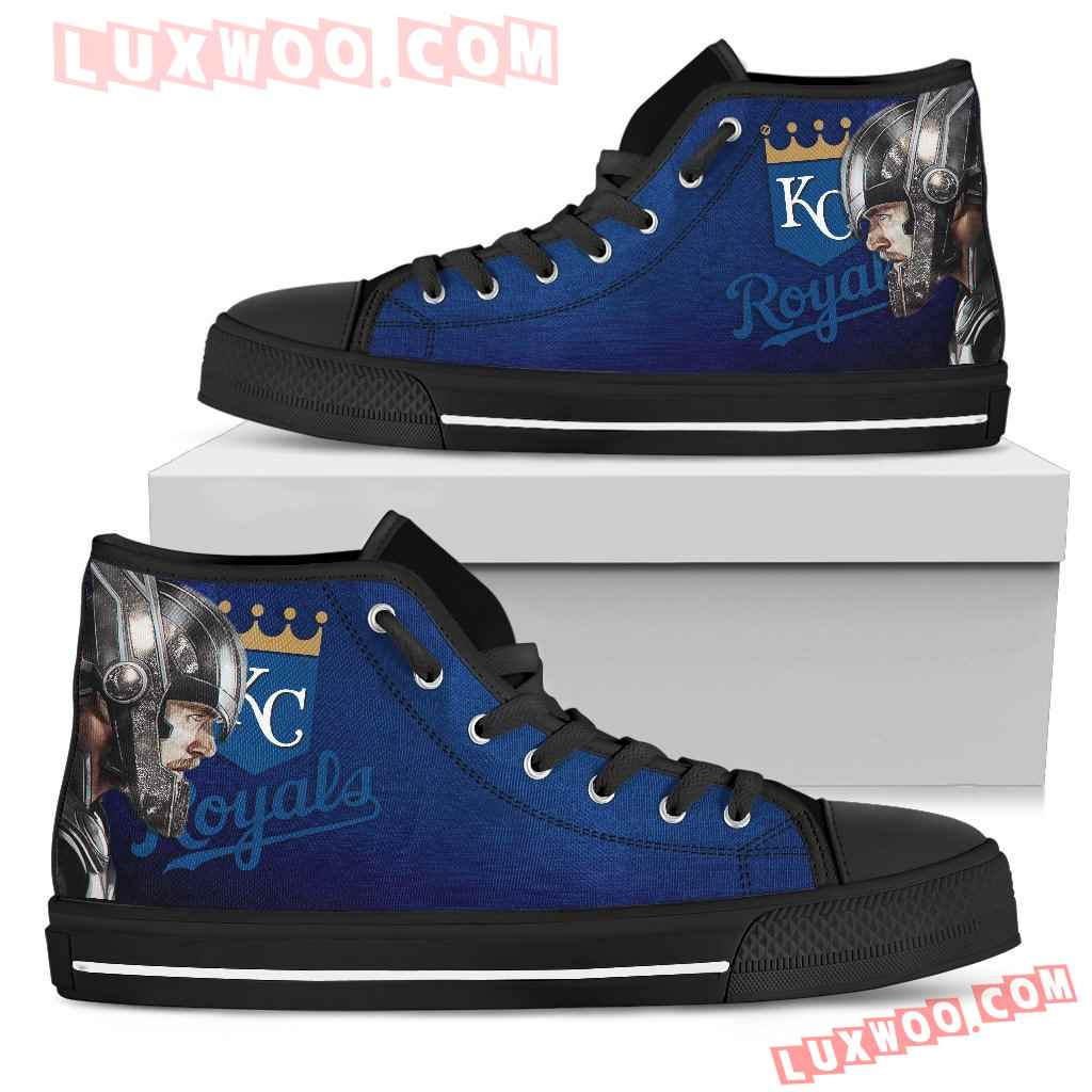 Thor Head Beside Kansas City Royals High Top Shoes