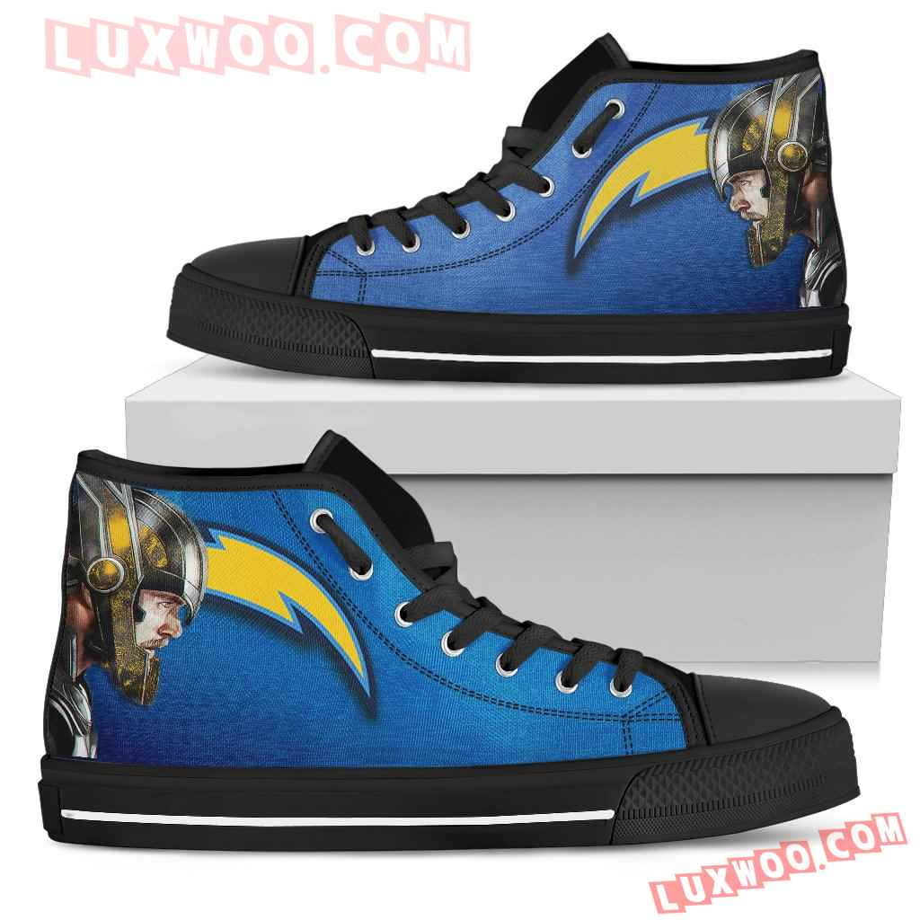 Thor Head Beside Los Angeles Chargers High Top Shoes