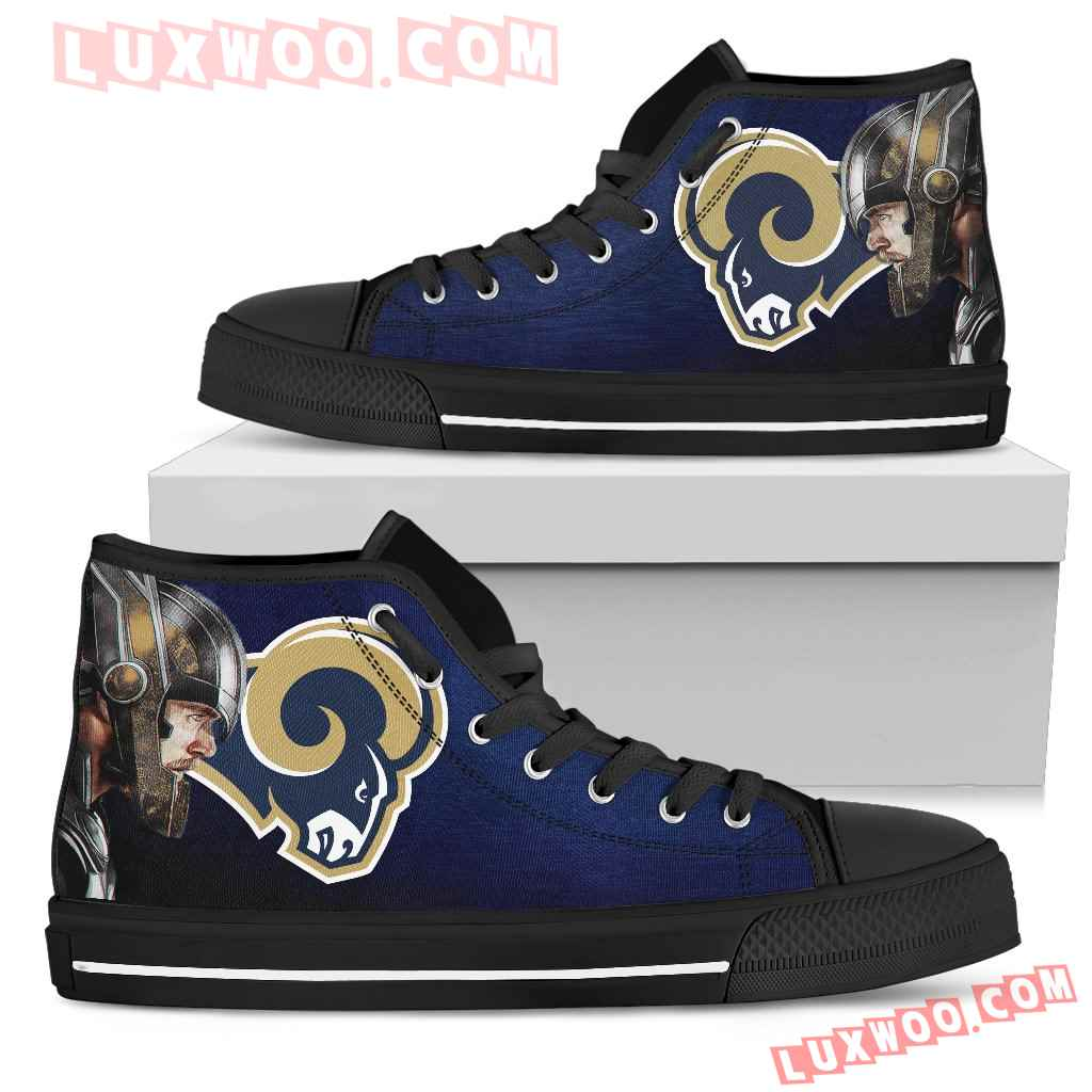Thor Head Beside Los Angeles Rams High Top Shoes