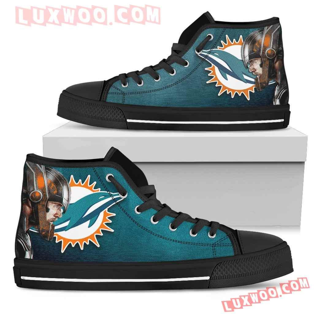 Thor Head Beside Miami Dolphins High Top Shoes
