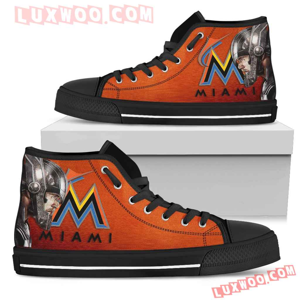 Thor Head Beside Miami Marlins High Top Shoes