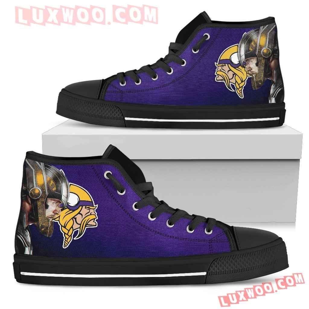 Thor Head Beside Minnesota Vikings High Top Shoes