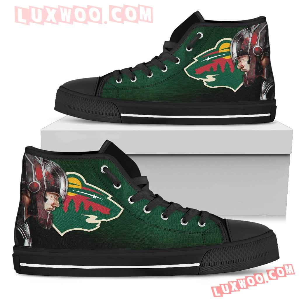 Thor Head Beside Minnesota Wild High Top Shoes
