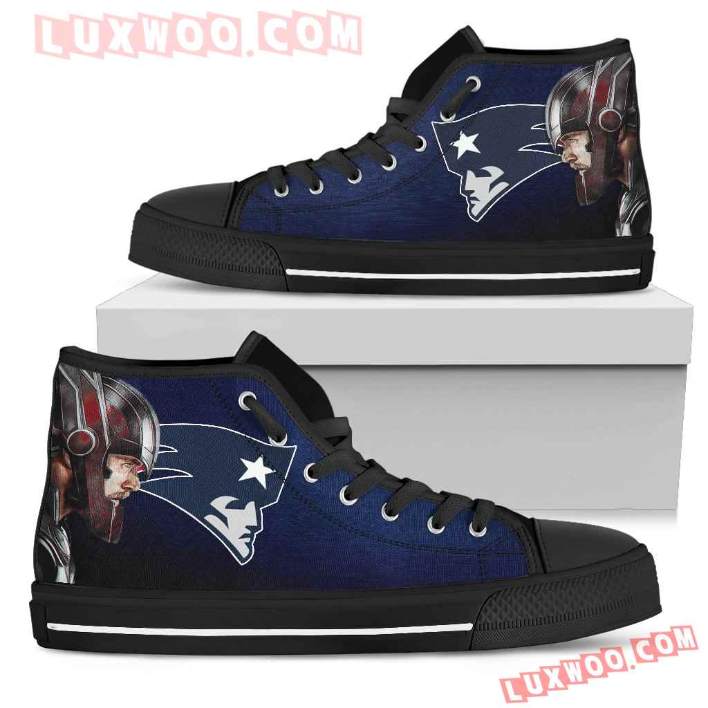 Thor Head Beside New England Patriots High Top Shoes