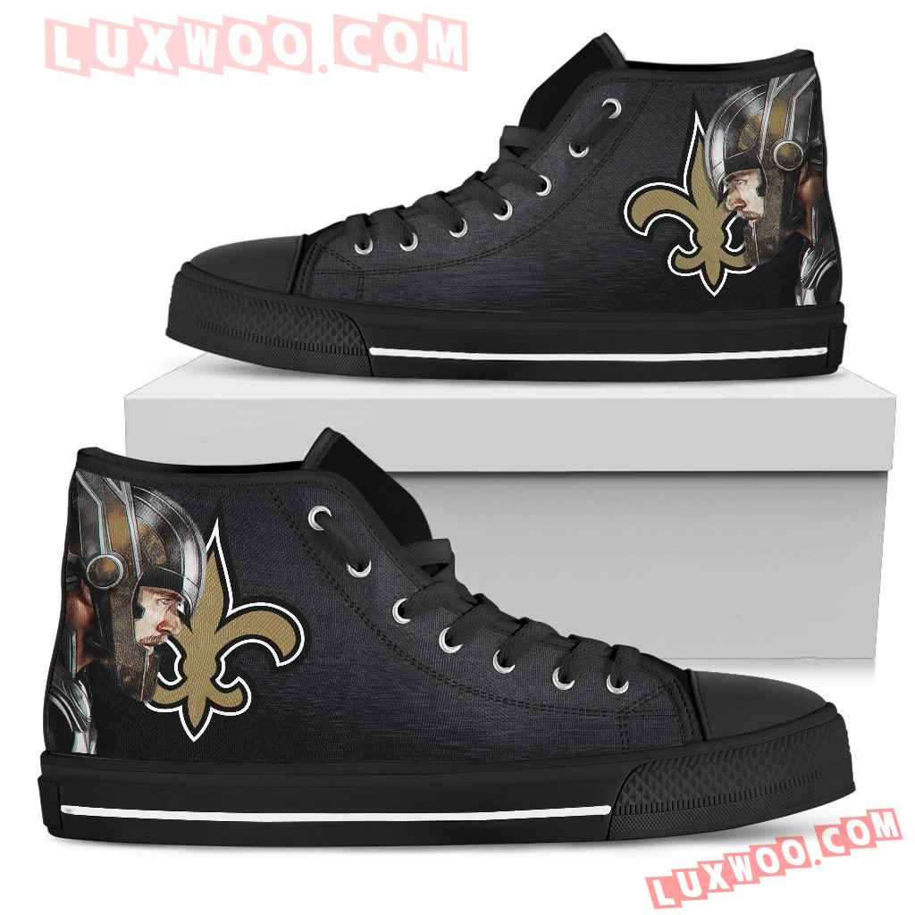 Thor Head Beside New Orleans Saints High Top Shoes