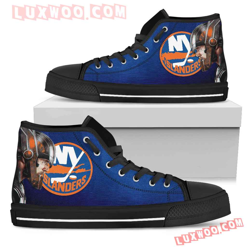 Thor Head Beside New York Islanders High Top Shoes