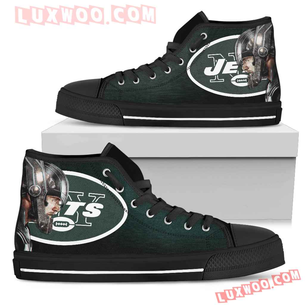 Thor Head Beside New York Jets High Top Shoes