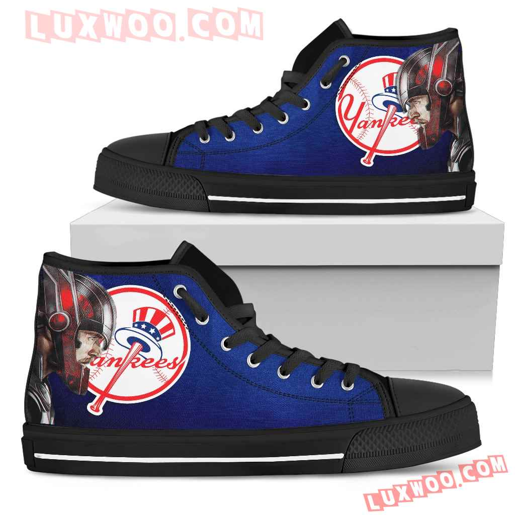 Thor Head Beside New York Yankees High Top Shoes