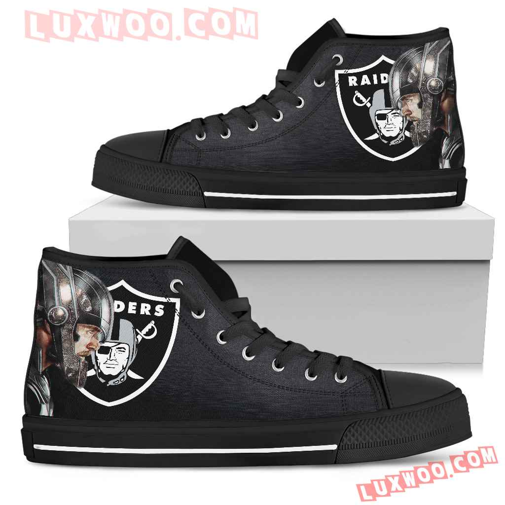 Thor Head Beside Oakland Raiders High Top Shoes