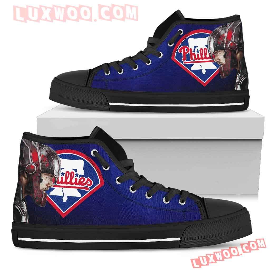 Thor Head Beside Philadelphia Phillies High Top Shoes